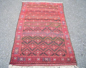 Persian Rug - 1960s Hand-Knotted Vintage Balouch Rug (3004)