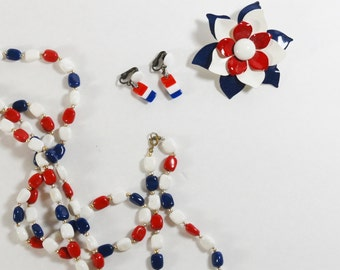 Vintage Patriotic Jewelry Set – Red, White, Blue