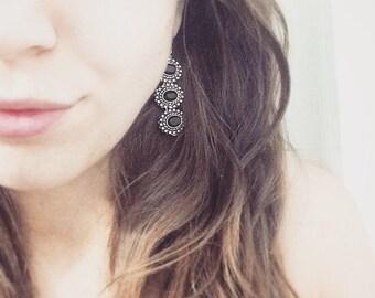 Black Gemstone Victorian Style Dangle Earrings