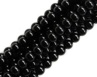 Black Onyx, Round, 6mm; 1 strand