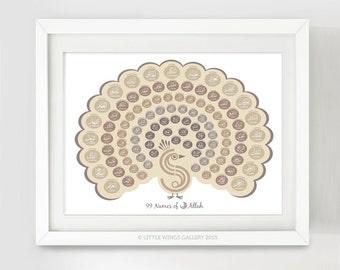 99 Names Of Allah, Peacock (Vintage), Islamic Art Print, Modern Islamic Wall Art