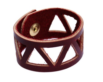 Marsala Oxblood Burgundy Geometric Leather Cutout Cuff Bracelet