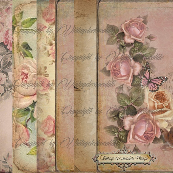 Digital Pink Floral Paper, Pink Rose Scrapbook Paper