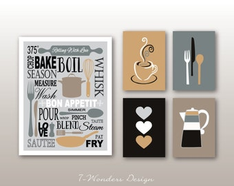 Kitchen Art Prints Bon Appetit Subway Typography Art, Coffee And Utensils  Prints   Set Of