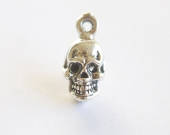 Halloween Sterling Silver Skull Charm - lightly oxidized to show detail, sterling silver thick skull pendant
