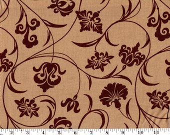 1 yard 14 inches, Brown Floral Scroll