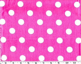 35 in, Large White Dots on Pink Cotton