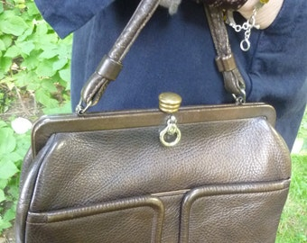 Vintage Purse Mod 60's Brown Leather Kelly Bag Style Handbag Made by Zenith Mad Men Style
