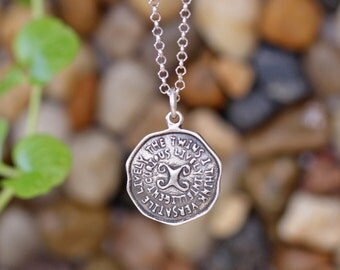 GEMINI Key Word Pendant of Astrology Zodiac Sign, Birthday gifts, Sterling Silver Chain Included.