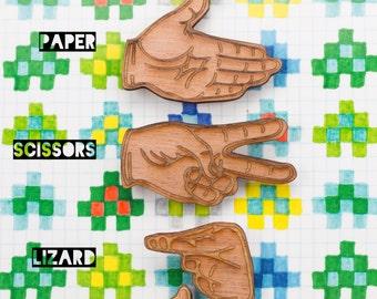 Rock, Paper, Scissors, Lizard, Spock ~ single wooden, hand brooch, for gamer and geek