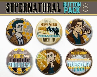 "Supernatural Buttons // Set of Six 2"" Supernatural Buttons // Supernatural Magnets // Supernatural Gift Set"