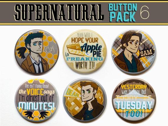 "Supernatural Buttons - Set of Six 2"" Supernatural Buttons - Supernatural Magnets - Supernatural Gift Set"