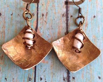 brass and pearl handmade earrings