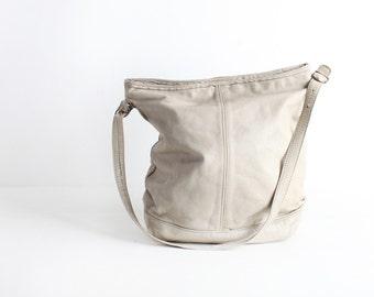 Vintage Creme Distressed Leather Shoulder Bag, Crossbody Purse