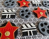 12 Fondant edible cupcake toppers - Oscar/Hollywood/Movie themed party, fondant movie star, fondant film reels, movie reels,camera,clipboard