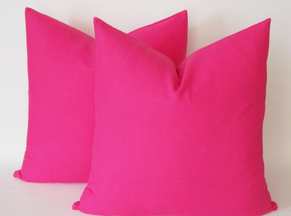 Pink Linen Throw Pillow : SET OF 2 / Hot Pink Linen Pillow Decorative pillow cover