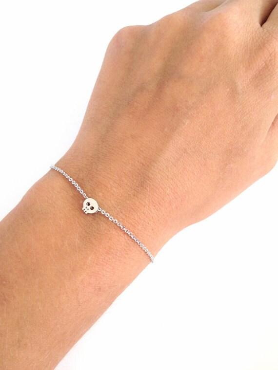 Tiny Skull bracelet - Gold Skull - Silver Skull - Bold skull bracelet - Tiny charm bracelet - Dainty everyday jewelry - Bestseller!