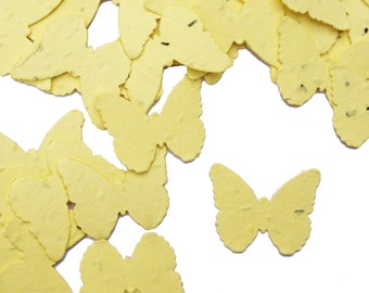 Yellow Butterfly Shaped Plantable Seed Paper Confetti, Wildflower Seed, Recycled Paper  - 100 Pack