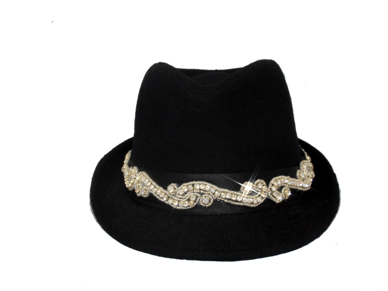 black bling womens fedora hat by timetwochange on etsy