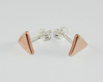 Triangle Earrings Made From Copper and Sterling Silver