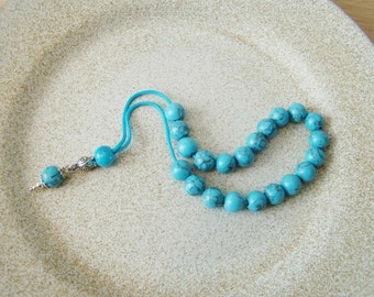 Turquoise worry beads, sterling silver and turquoise coloured howlite beads, Greek komboloi, blue howlite prayer beads, mala