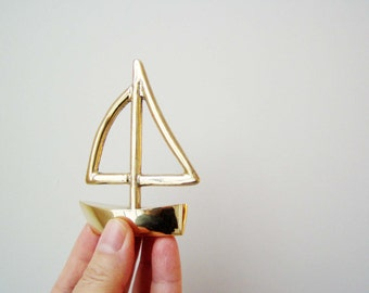 Solid brass Greek  miniature sailboat, outlined sail,Greek sailboat sculpture, miniature sailboat sculpture, made to order