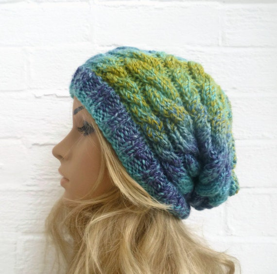 Hand Knit Hat, Women's Slouchy Beanie Cabled Hat, Blue Green Braided Hat, Christmas Winter, Clickclackknits