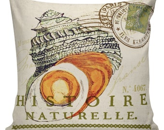 Pillow Cover French Style Shell Beach Nautical Cottage Summer Decor Burlap Cotton Throw Pillow NA-16