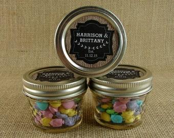 Personalized Mason Jar Wedding Favors - Burlap and Chalkboard Design Sticker Label - 20 4 oz. Mason Jelly Jars  BC55