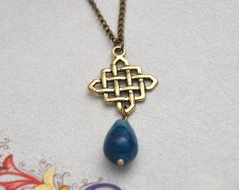 Gold celtic necklace, blue agate necklace , celtic knot necklace ,  celtic jewelry