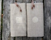 Bread bags set - linen storage bags - dried fruit keeper. Geometric details.