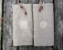 Bread bags set - linen storage bags - dried fruit keeper. Geometric details.
