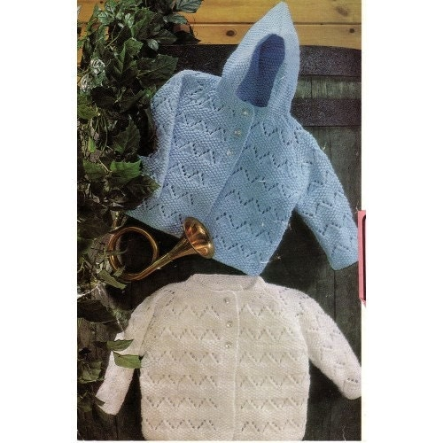 baby knitting pattern hooded and round neck cardigan 19 /22