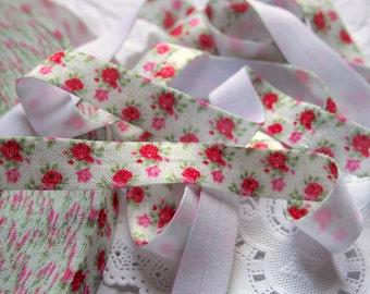 "5/8"" Petite Roses Elastic Lace, White FOE"