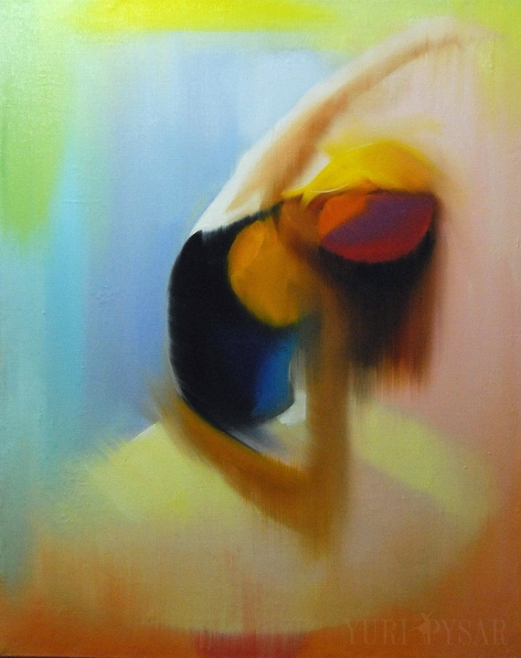 Abstract painting, oil canvas art, ballerina art contemporary painting, dancer canvas painting dancer in tutu abstract dance painting yellow