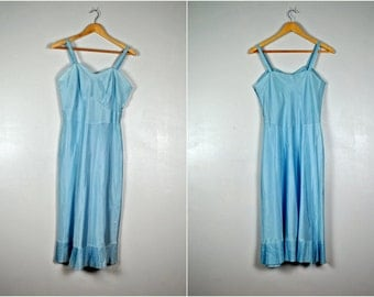Vintage Light Blue Slip or Slip Dress