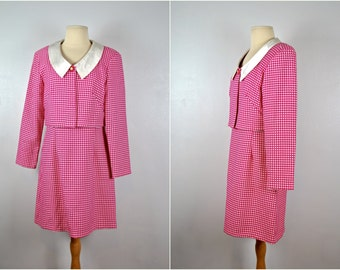 Pink and White Checked Suit, Vintage Suit