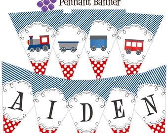 Train Pennant Banner - Navy Blue Stripes, Red Polka Dots, Little Train Engine Personalized Birthday Party Banner - A Digital Printable File