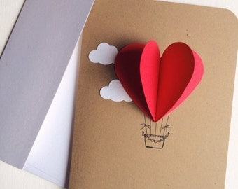 heart air balloons card 3d air balloon etsy 4652