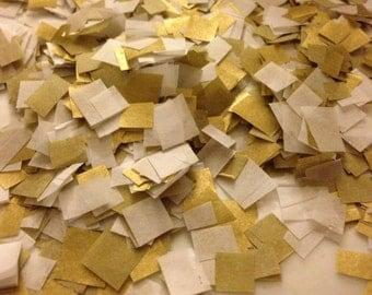 Biodegradable Confetti / Wedding Confetti / White and Metallic Gold Confetti to Throw / Bag of Confetti / Gold Wedding Decoration