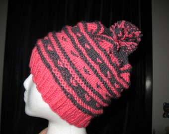 100% Wool Knit Hat - Pink and dark grey/black