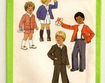 "A Pants and Shorts with Detachable Suspenders & Elastic Waist, and Lined Button Jacket Pattern: Childs Size 5, Chest 24"" • Simplicity 9762"