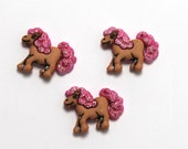 6 pcs Pony with Pink Glitter Mane and Tail. My little pony Party Favor. Princess Pony. Pink Glitter. Horse party  favor. Princess Party