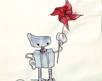 Robot with pinwheel, windmill, friend, baby shower, nursery. Watercolor