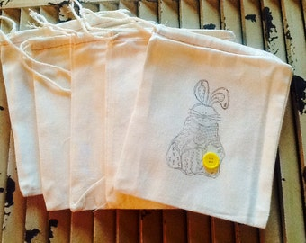 Set of 5 hand stamped muslin bags, Easter bunny 5x7