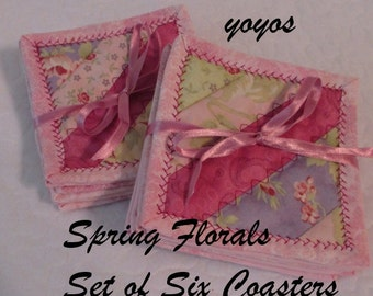 COASTERS SPRING FLORALS Set of Six Home Cottage Shabby Chic Décor Gifts Pastel Colors