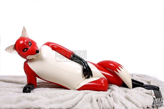 Red Fox Inflatable Latex Fox Costume Rubber Animal-5121