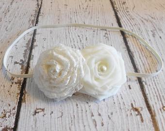 Chiffon and Lace Rolled Rose Headband- Ivory- Newborn to Adult