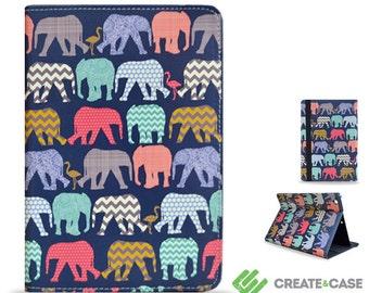 """iPad Mini 3 / iPad Mini 2 case from Create&Case """"Elephants and Flamingos"""" stylish, unique colourful slim folio case cute animals"""