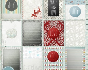 Christmas Journaling Cards, Photoshop Template- INSTANT DOWNLOAD